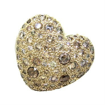image of New Pomellato Sabbia 18k Gold 2.44ct Fancy Diamond Heart Ring