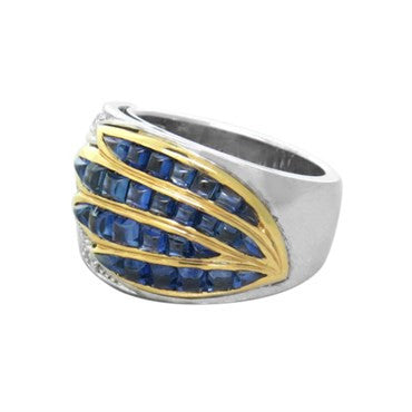 thumbnail image of Gold Diamond Sugarloaf Cut Sapphire Ring