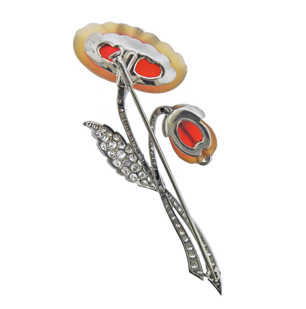 thumbnail image of Platinum Diamond Carved Agate Flower Brooch Pin
