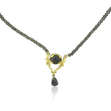 thumbnail image of Robin Rotenier 18K Yellow Gold Smokey Topaz Bead Necklace