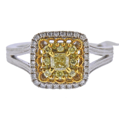 image of Gregg Ruth Yellow White Diamond Gold Engagement Ring