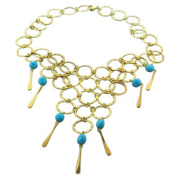 image of Robert Lee Morris 18K Gold Turquoise Bib Necklace