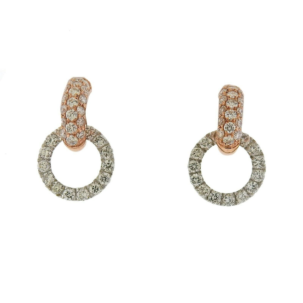 thumbnail image of Odelia 18k White Rose Gold Diamond Circle Link Earrings