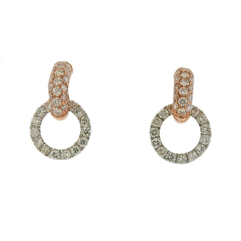 image of Odelia 18k White Rose Gold Diamond Circle Link Earrings
