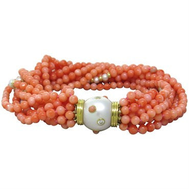 thumbnail image of Trianon Pearl Coral Bead Diamond Gold Multi Strand Bracelet