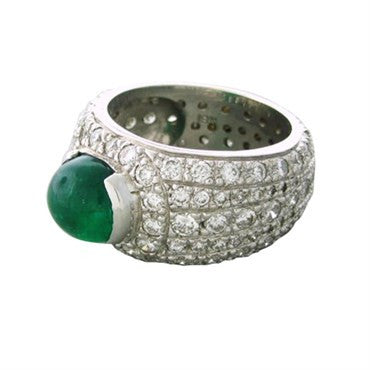 thumbnail image of Impressive 18k Gold 2.60ctw Diamond 2.85ct Emerald Cabochon Ring