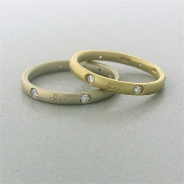 thumbnail image of Pomellato Lucciole 18K White Yellow Gold Diamond Band Ring Set of 2