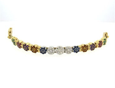 thumbnail image of Goldman Kolber 14k Gold 1.80ctw Diamond Multicolor Gem Slide Bracelet