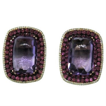 image of Modern Amethyst Ruby Diamond 18K Gold Earrings