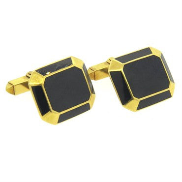 image of Large Deakin & Francis Black Enamel and 18k Gold Cufflinks