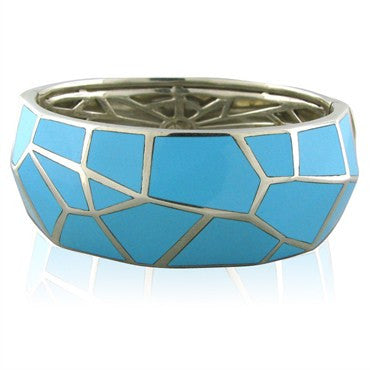 image of Stephen Webster Sterling Silver Turquoise Inlay Bangle Bracelet