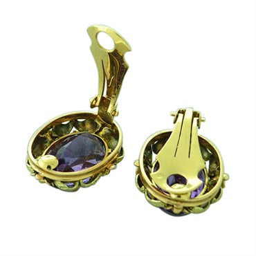 image of Estate 18k Gold Amethyst Earrings