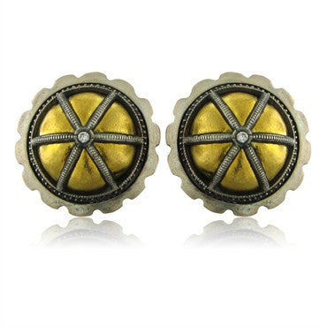 thumbnail image of New Gurhan Capitone Collection 24K Gold Diamond Round Button Earrings
