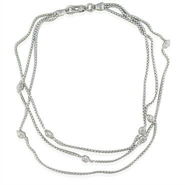 thumbnail image of Judith Ripka Sterling Silver CZ 3 Strand Necklace