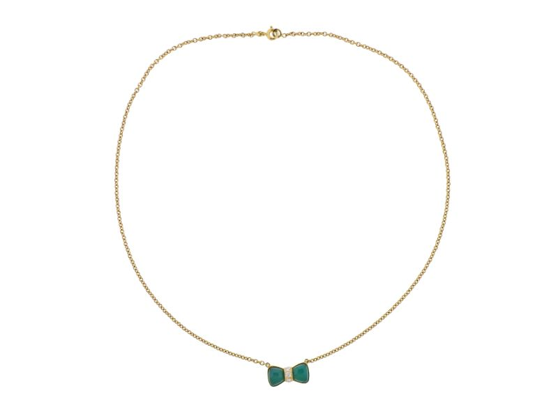 thumbnail image of Van Cleef & Arpels Chrysoprase Diamond Gold Bow Necklace