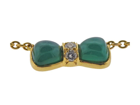 image of Van Cleef & Arpels Chrysoprase Diamond Gold Bow Necklace