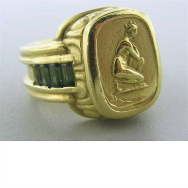 image of Seidengang 18k Gold Green Tourmaline Ring