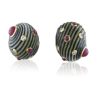 image of Vintage Trianon 14k Gold Diamond Ruby Shell Earrings
