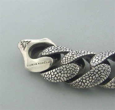 thumbnail image of Stephen Webster Sterling Silver Rayskin Link Large Mens Bracelet