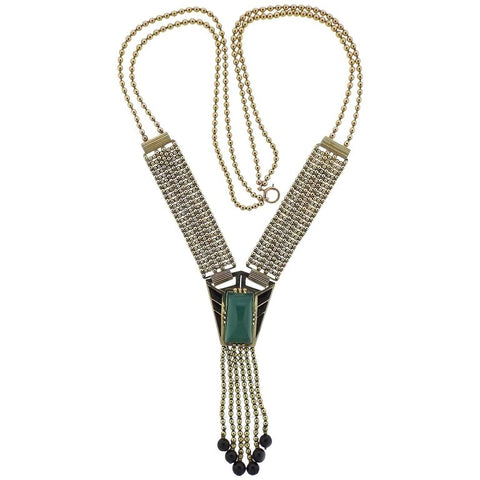image of Iconic Art Deco Chrysoprase Onyx Gold Necklace