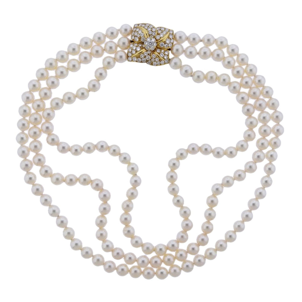 thumbnail image of Mikimoto Diamond Pearl Flower Necklace