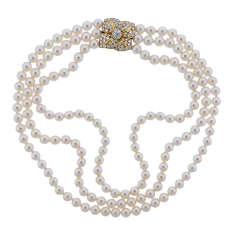 image of Mikimoto Diamond Pearl Flower Necklace