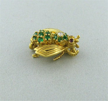 thumbnail image of Tiffany & Co Bumble Bee 18K Gold Emerald Ruby Diamond Brooch Pin