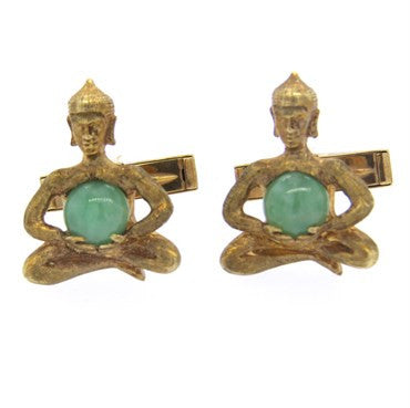 thumbnail image of Gold Jade Krishna Cufflinks
