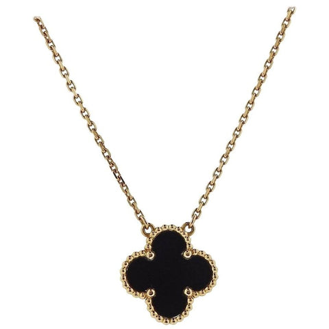 image of Van Cleef & Arpels Vintage Alhambra Onyx Gold Pendant Necklace