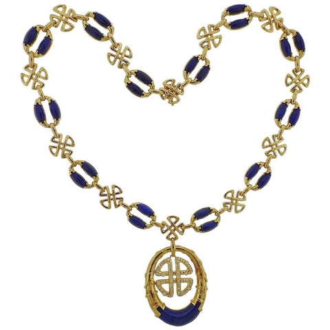 image of 1980s Neiman Marcus Lapis Diamond Gold Pendant Necklace
