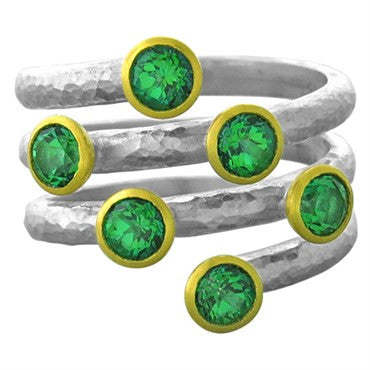 image of Gurhan Skittle Sterling Silver 24k Gold Five Row Green Topaz Ring