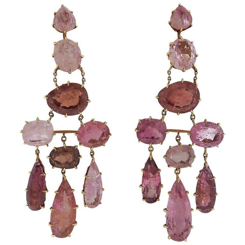 image of H. Stern Spring Pink Tourmaline Chandelier Gold Earrings