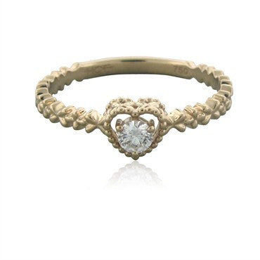 image of New Hearts On Fire My First Beaded Heart Solitaire Diamond Ring