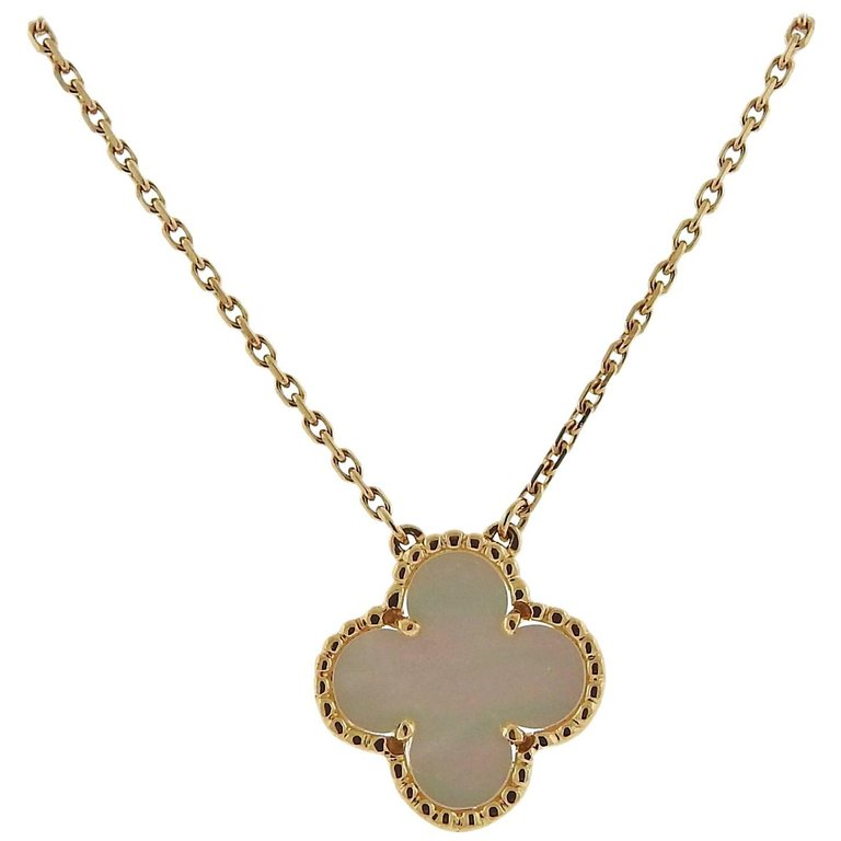 thumbnail image of Van Cleef & Arpels Vintage Alhambra Mother-of-Pearl Gold Pendant Necklace