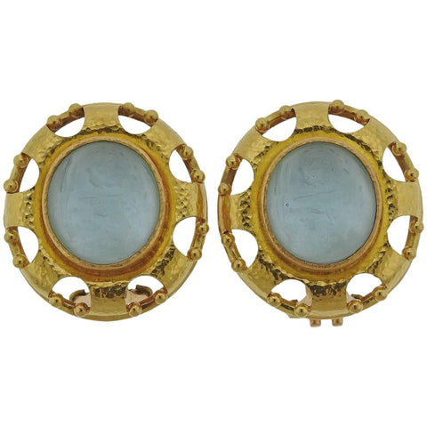 image of Elizabeth Locke Venetian Glass Gold Earrings