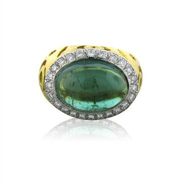 image of New Gumuchian Lace Cut 18K Gold Platinum Tourmaline Diamond Ring