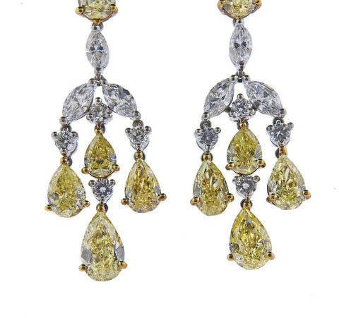 image of Gregg Ruth 10.23ctw Yellow Diamond Gold Platinum Drop Earrings