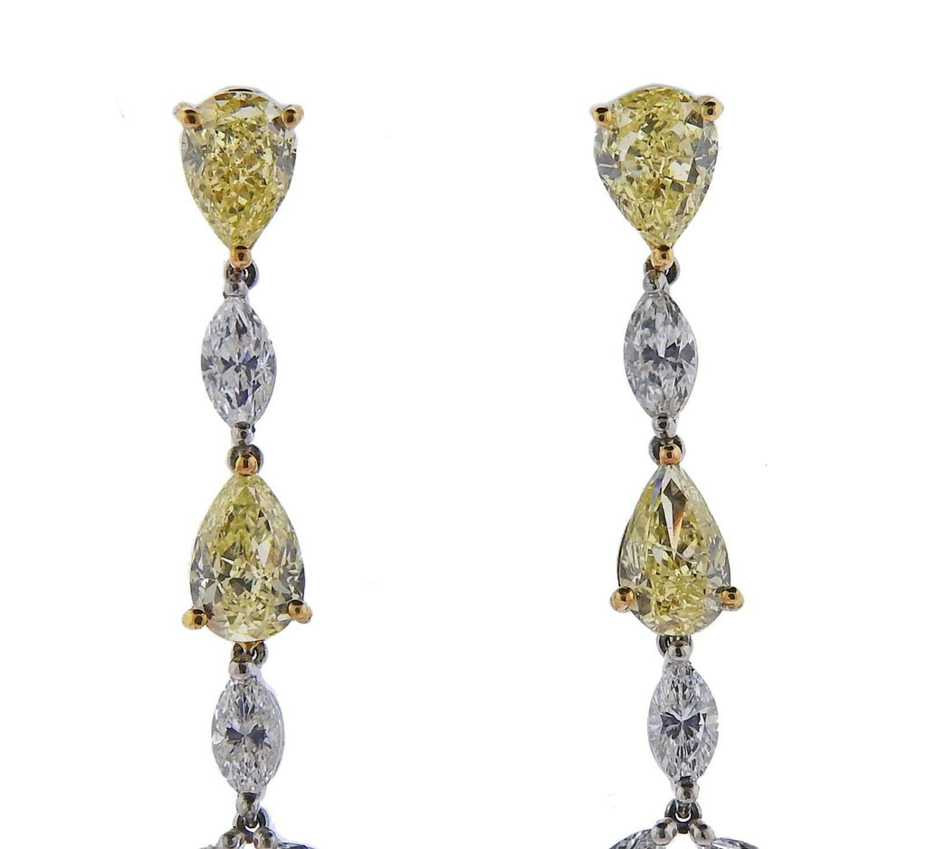 thumbnail image of Gregg Ruth 10.23ctw Yellow Diamond Gold Platinum Drop Earrings