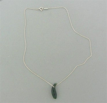 thumbnail image of Tiffany & Co Frank Gehry Fish Sterling Silver Jade Pendant Necklace