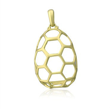 image of Slane & Slane 18K Yellow Gold 15th Anniversary Open Honeycomb Pendant
