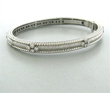 thumbnail image of Judith Ripka Romance 18k White Gold Diamond Bangle Bracelet