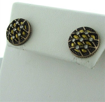 image of New Gurhan Capitone Collection 24K Gold Diamond Round Stud Earrings