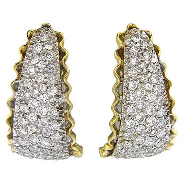 image of 1970s 2.00ctw Diamond 18k Gold Half Hoop Earrings
