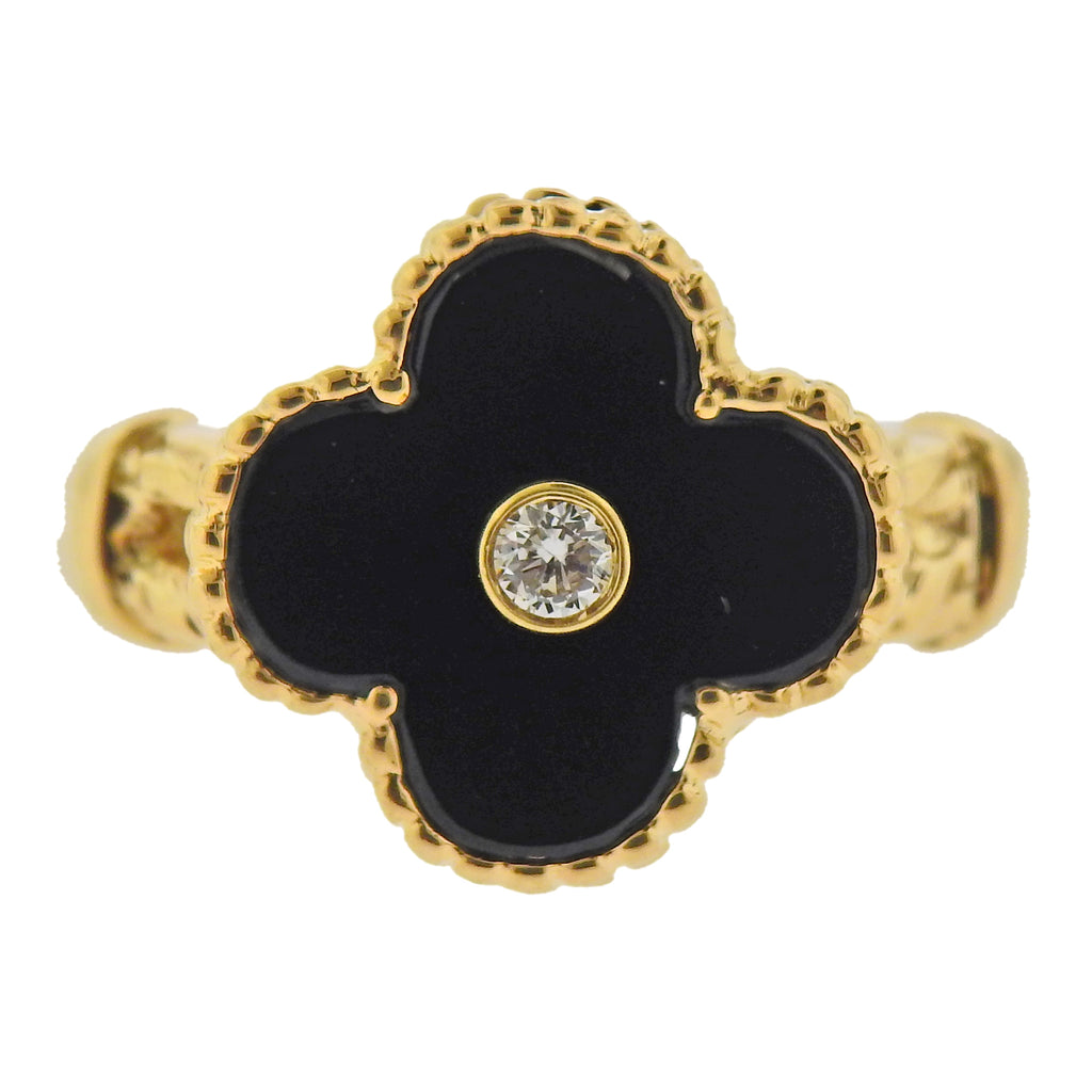 thumbnail image of Van Cleef & Arpels Alhambra Onyx Diamond Gold Ring
