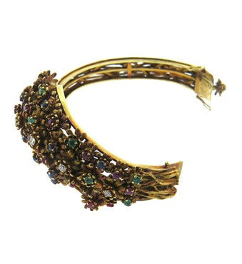 image of Zolotas Gold Diamond Emerald Sapphire Ruby Flower Bangle Bracelet