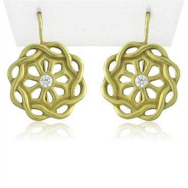 image of Estate Slane & Slane 18K Yellow Gold Diamond Earrings