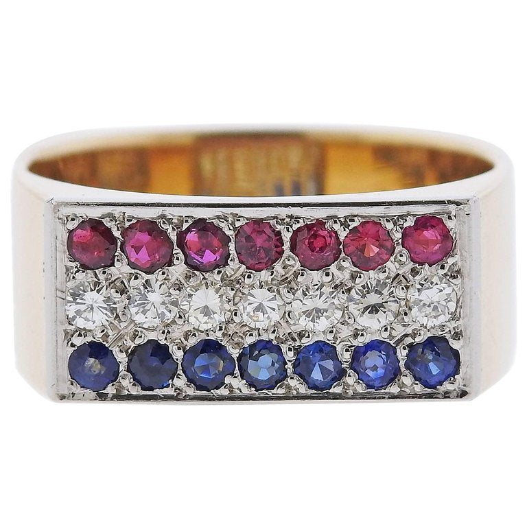 thumbnail image of 1970s Dinh Van Diamond Sapphire Ruby Gold Square Ring