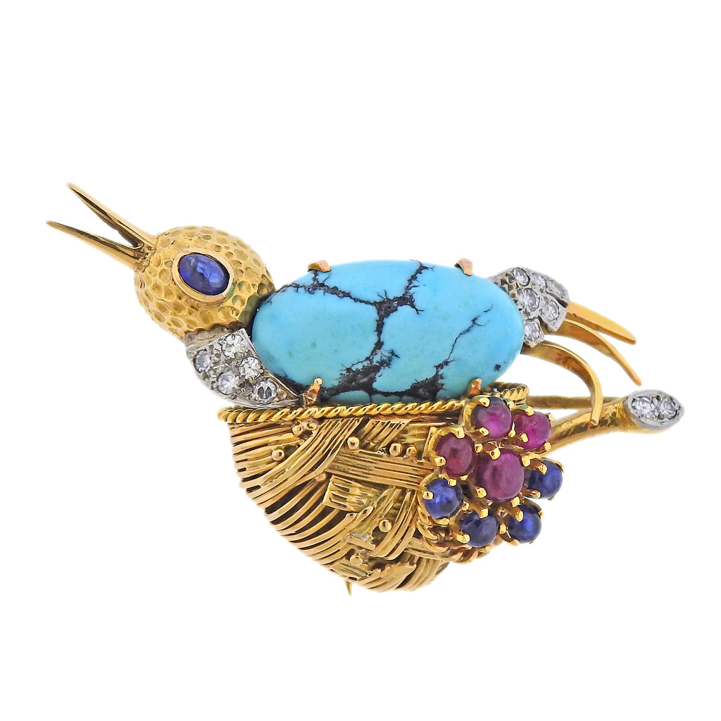 thumbnail image of French Mid Century Diamond Ruby Sapphire Turquoise Gold Bird Brooch