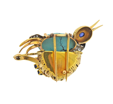 image of French Mid Century Diamond Ruby Sapphire Turquoise Gold Bird Brooch