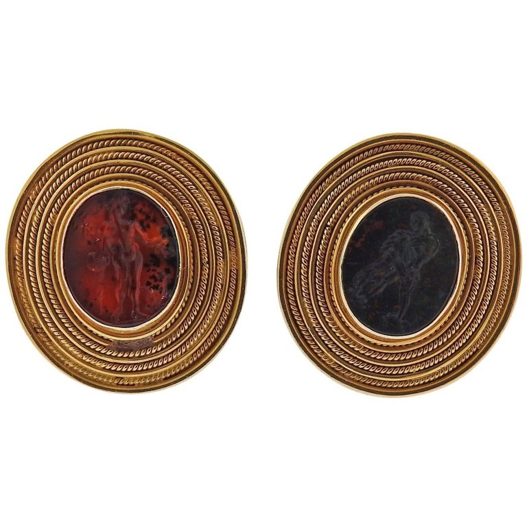 thumbnail image of Ancient Roman Bloodstone Intaglio Gold Cufflinks